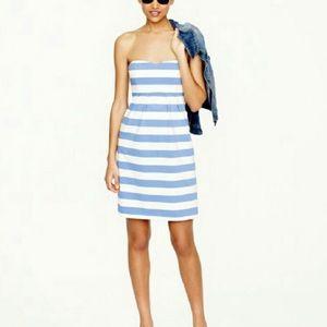 J. Crew Nautical Blue Stripe Strapless Dress